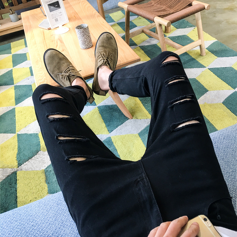 Teenager Students With Holes Slim Fit Jeans Men Korean-style Capri Pants Men'S Wear Casual Summer Thin Section MEN'S Trousers