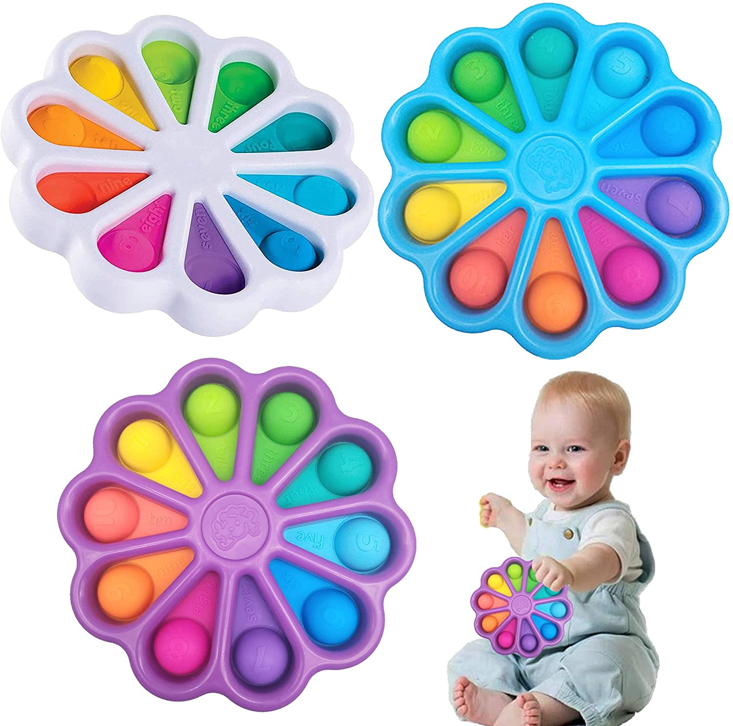 Flower Dimple Simple Squeeze Toys Sensory Toy, Stress Relief Hand Toys For Kids Adults