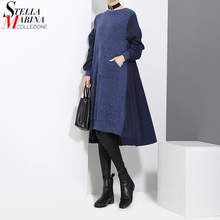 2020 Winter Woman Long Sleeve Blue Black Patchwork Sweater Dress Pocket Woolen Ladies Loose Casual Midi Dress vestido style 3030