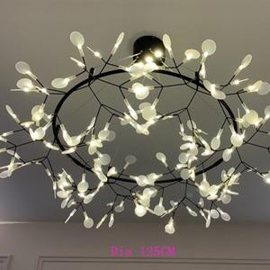 Image 2 - Modern LED Lamp Firefly Tree Branch Leaf Pendant Light Round Flower Suspension Lamps Art Bar Restaurant Home Lighting AL127B