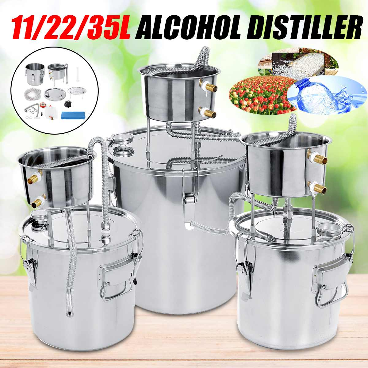11/22/35L DIY Home Alcohol Distiller Stainless Alcohol Brew Distiller Equipment Copper DIY Water Wine Essential Oil Brewing Kit