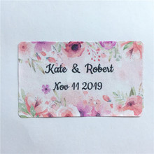 100 Pieces Custom Wedding Labels Rectangle Adhesive Stickers Personalized Name and Date Gift Favor Box Seals