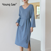 Young Gee Fashion Women Knitted Loose Dress Fall Winter Three Quarter Sleeve Sweater Casual Sexy V Neck Dresses ropa mujer