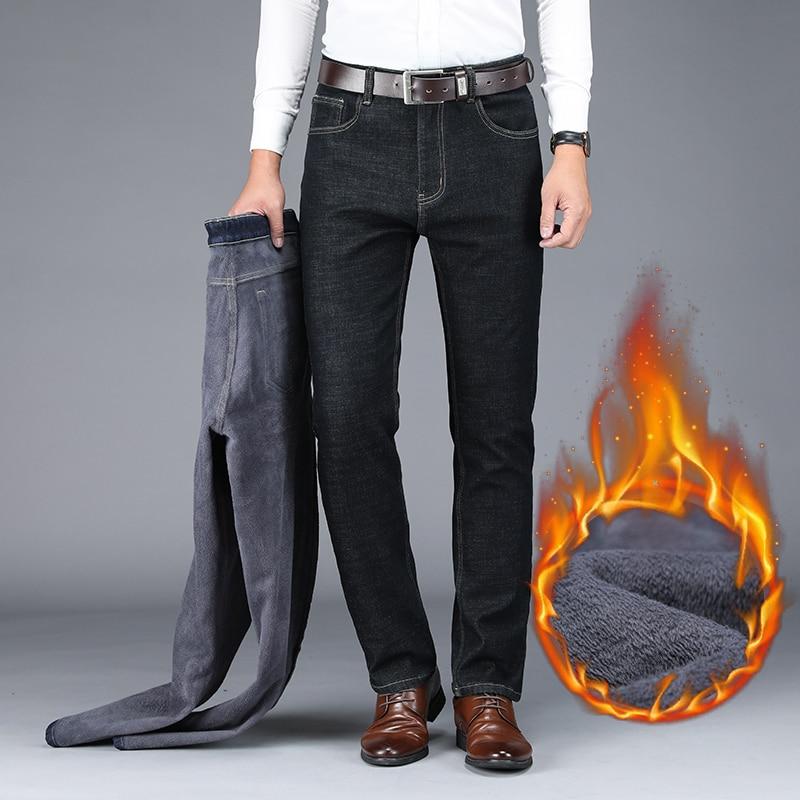 QUANBO Brand Classic Men's Winter Jeans 2019 New Business Casual Black Blue Elastic Slim Fit Straight Warm Denim Trousers 40 42