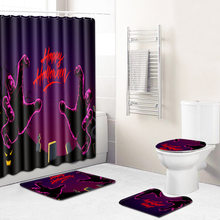 For Halloween Party Partition Curtain 4 Piece Shower Curtain Set Non Slip Carpet Bathroom Rug Set 3D Bath Mat for Home Decor(China)