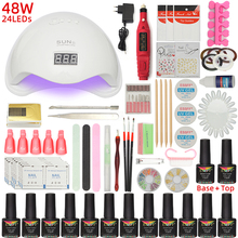 ESSFF 12 Colors Gel Polish Nail Art Manicure Tools Kit UV LED Nail Lamp Dryer Nail polish DIY Tools Nail Set Kit Gel Varnish Set gel polish nail art tools kits 36w uv led nail dryer lamps uv gel polish polish gel manicure machine set nail file remover tools