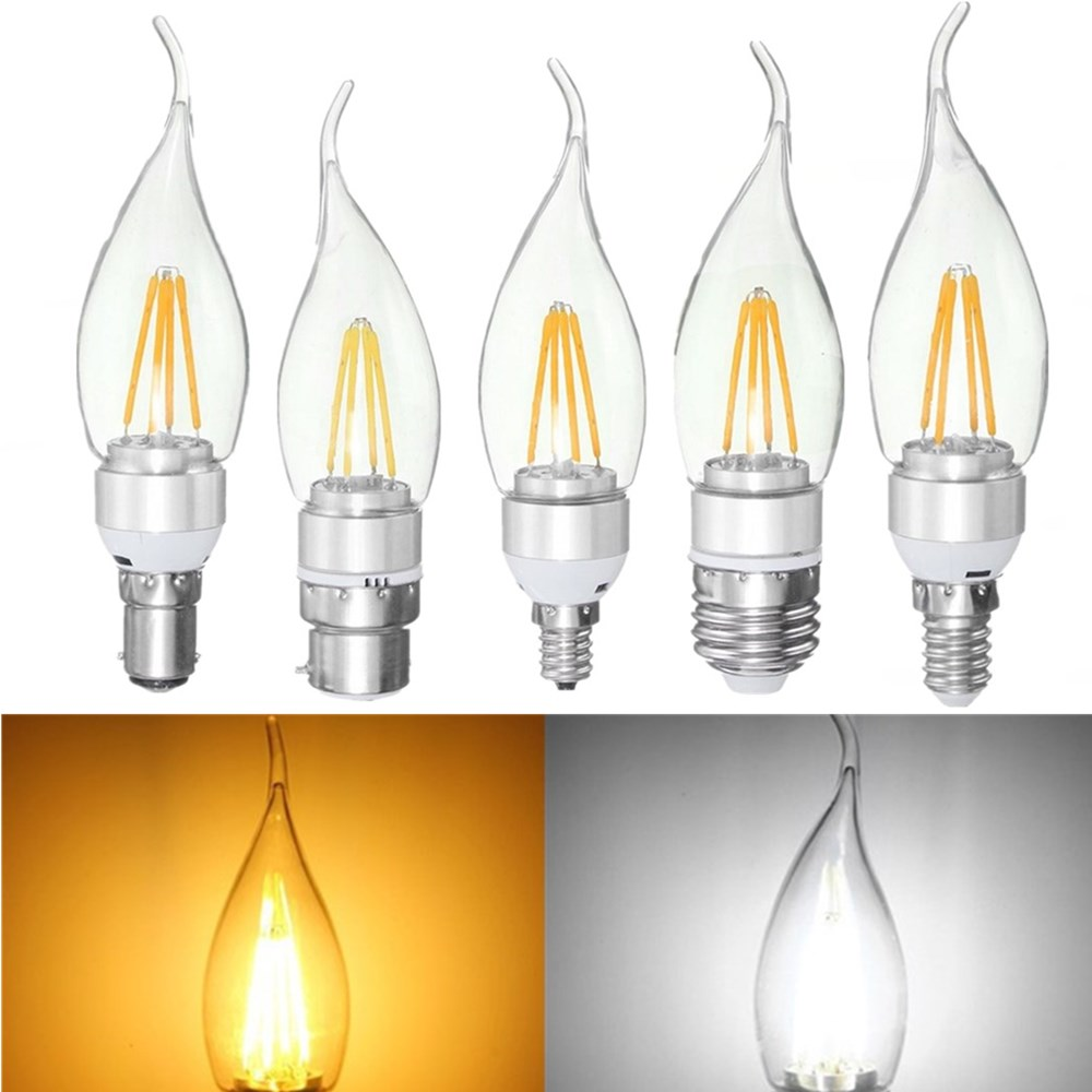 LED Candle Bulb Vintage Lamp E27 E14 E12 B22 B15 4W Silver Pull Tail Incandescent Light Lamp Bulb Non-Dimmable 110V