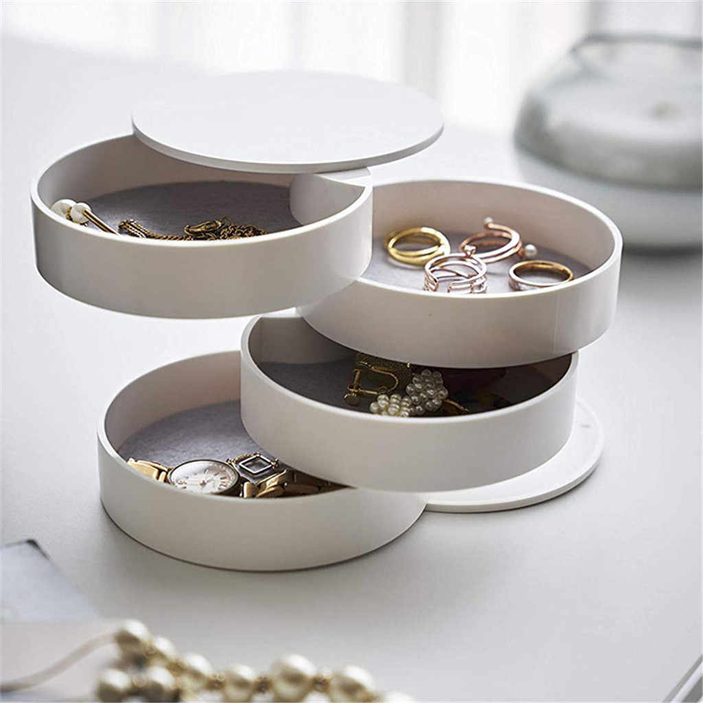 Jewelry Storage Box 4-Layer Rotatable Jewelry Accessory Storage Tray with Lid  Gift Box Organizer Earring Holder