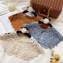 Demi-chemise Vintage à Col rond pour femme, chemise à Faux Col, en dentelle, Crochet, détachable