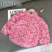 Baby Shirt Kids Tops Puff-Sleeve Girls Blouse Collar Spring Floral Children Autumn Fashion