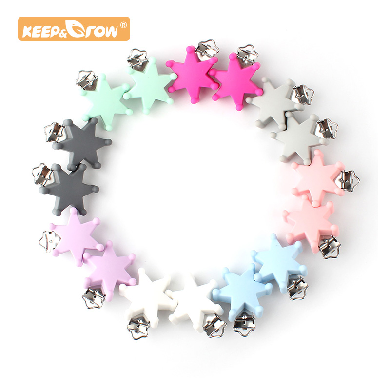 Keep&Grow 1pc Star Pacifier Clip Silicone Teether Metal Silicone Rodent DIY Bead Tool Accessories Necklace Pendant Clamp