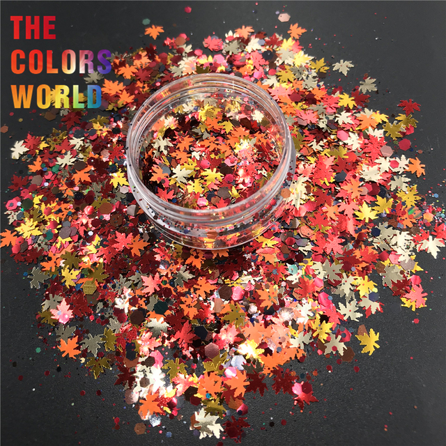 TCT 364  Autumn Maple leaf Mix Nail Glitter Nail Art Decoration Resin Art On Tumblers And Molds Craft DIY Accessoires Festival