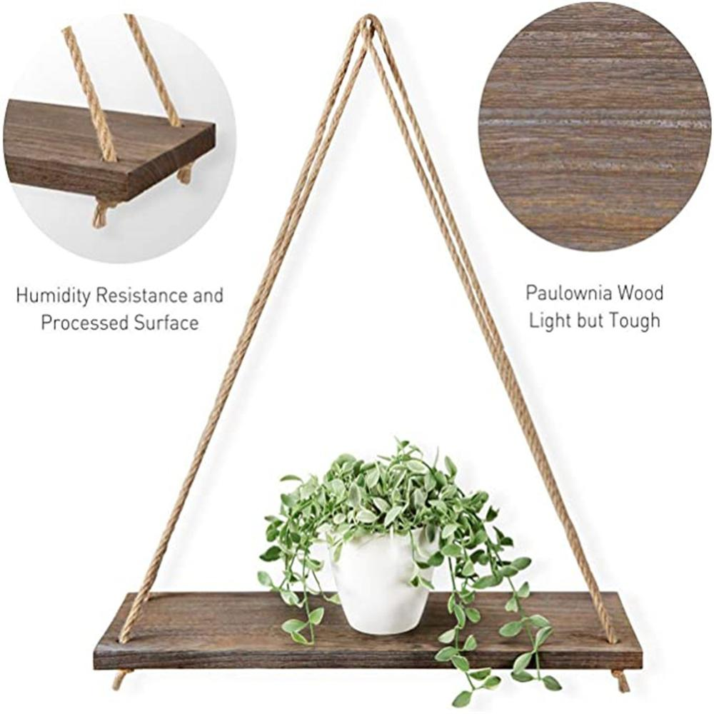 Premium Wood Swing Hanging Rope Wall Mounted Floating Shelves Plant Flower Pot indoor outdoor decoration simple design 3