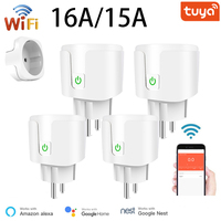 Smart Plug presa WiFi EU 16A/15A funzione di temporizzazione del Monitor di alimentazione Tuya SmartLife APP Control funziona con Alexa Google Assistant