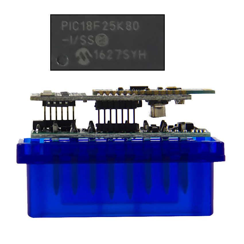 ELM327 V1.5 PIC18F25K80 بلوتوث OBD الماسح الضوئي أداة تشخيصية صغيرة الدردار 327 V1.5 OBD2 قارئ رمز السيارة لنظام أندرويد/سيمبيان OBDII