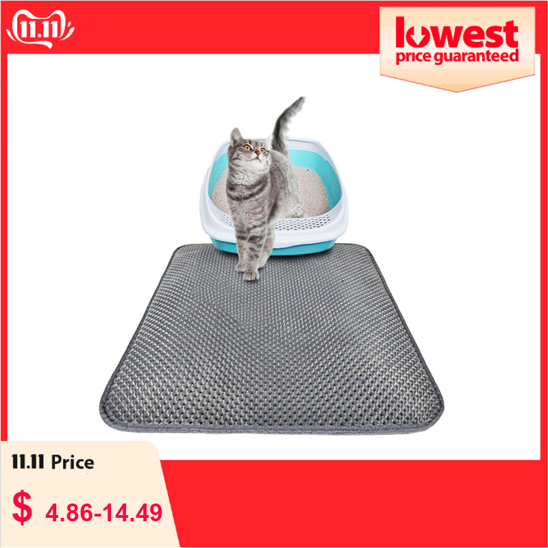 Cat Litter Mat EVA Double Layer Trap Pet Cat Litter Mat Kitten Toilet Mats Feeding Non-slip Litter Cat Floor Pad Waterproof