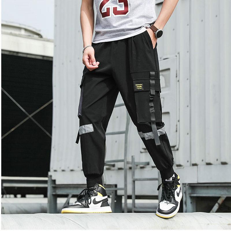 Streetwear Men's Multi Pockets Cargo Harem Pants Hip Hop Casual Male Track Pants Joggers Trousers Harajuku Ribbons Men Pants