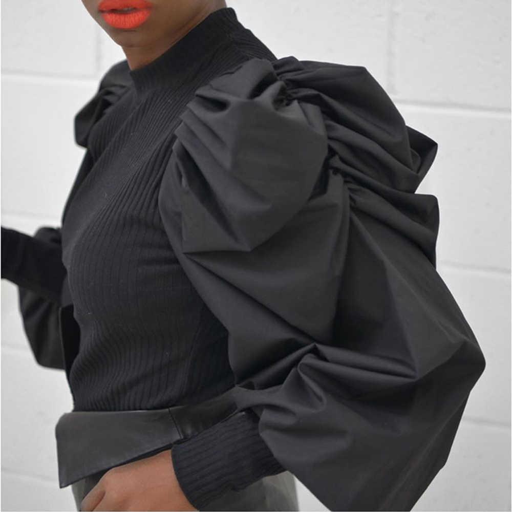 Kadın O boyun Streetwears yeni kadın Patchwork örgü gömlek kadın rahat moda kazak bayanlar moda Tee puf kollu üstleri