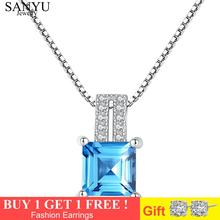 SANYU Charm Sky Blue Topaz Gemstone Pendant Necklaces for Women Solid 925 Sterling Silver Necklace Fine Jewelry Wedding Gift hutang stone jewelry natural green turquoise blue topaz pendant solid 925 sterling silver necklace fine jewelry for women gift
