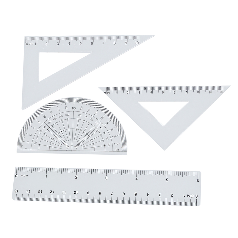 Students Maths Geometry Stationery Ruler Set Squares Protractor