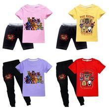 2021 FNAF chłopcy T-shirt ubrania dla dzieci pięć nocy w Freddys dziewczynek T-shirt modne ciuchy dla chłopców topy Tees FNAF kostium tanie tanio DGFSTM COTTON CN (pochodzenie) Na co dzień Cartoon REGULAR O-neck tops Krótki Pasuje prawda na wymiar weź swój normalny rozmiar