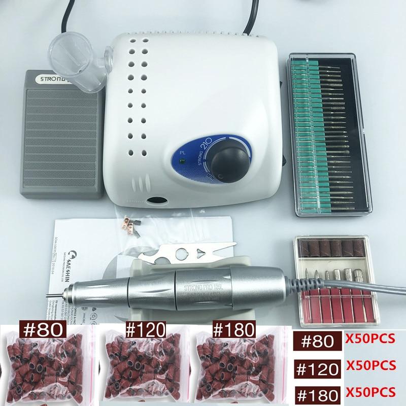 45000rpm SILVER Handpiece STRONG 210 PRO 105 105L 65W  Nail Drills Manicure Machine Pedicure Electric File Bits