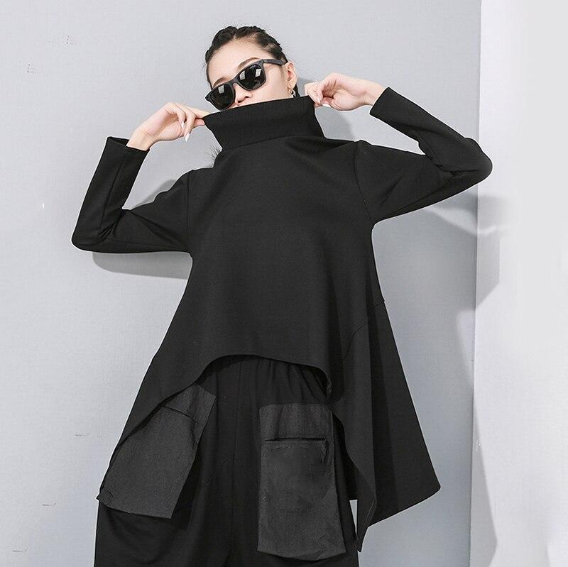 [EAM] Loose Fit Black Split Asymmetrical Sweatshirt New Turtleneck Long Sleeve Women Big Size Fashion Tide Spring 2020 1N482 6