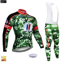 Men Cycling Jersey Set Camouflage Winter Ropa Ciclismo 2019 Pro Team Bicycle Long Sleeve Clothing 16D Pad Bib Shorts MTB