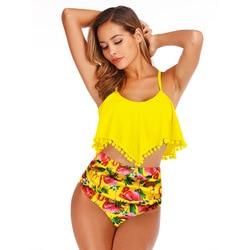 Wzburzyć stroje kąpielowe kobiety 2020 Push Up stringkąpielowy bikini z wysoką talią drukowane Plus rozmiar strój kąpielowy kobieta maillot de bain 2