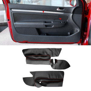 ONLY 3 Doors Car Soft Leather Front Door Panel Cover For VW Golf 5 MK5 2005 - 2009 2010 Door Armrest Panel Cover Sticker Trim