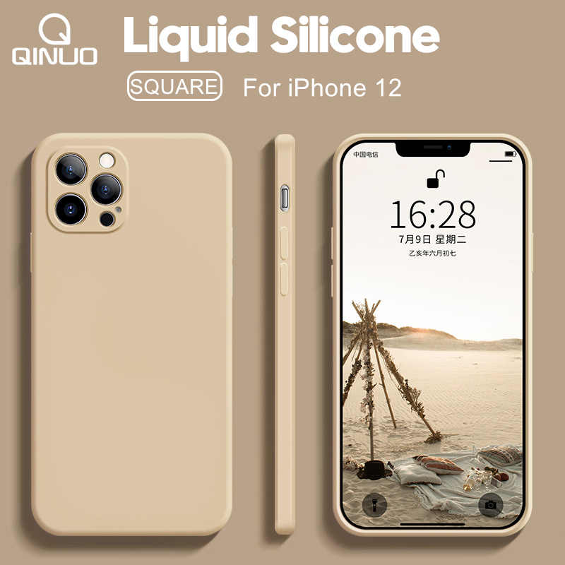 Luxury Original Square Liquid Silicone Phone Case For iPhone 12 11 Pro Max 12 Mini X XR XS Max 6 6S 7 8 Plus SE2 Thin Soft Cover