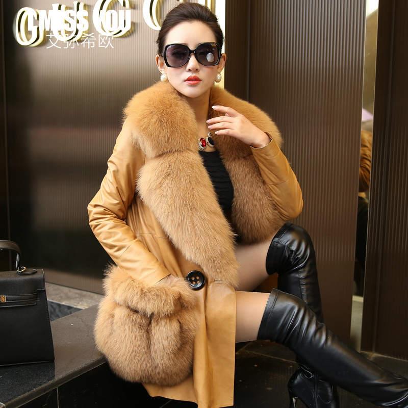 Sheepskin Real 100% Coat Female Natural Fox Fur Collar Down Jackets 2020 Winter Jacket Women Genuine Leather Jacket MY