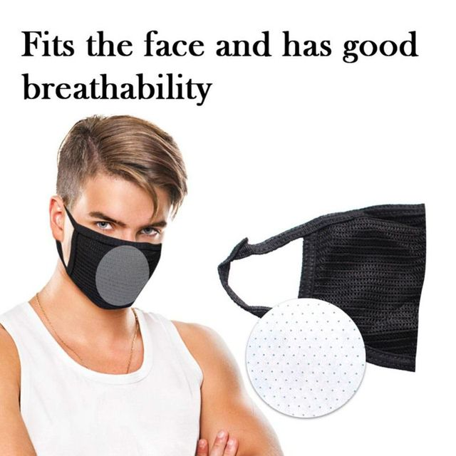 Cotton Black Mouth Mask Anti Dust Mask Activated Carbon Filter Windproof Mouth-muffle Bacteria Proof Flu Face Masks Tool 1