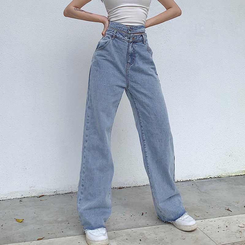 Hollow Out High Waisted Jeans Vintage Fashion Baggy Jeans 90s Skater Loose Jeans Women Autumn Blue Harajuku Straight Pants(China)