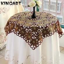Круглая Свадебная скатерть роскошная для стола чайного столика