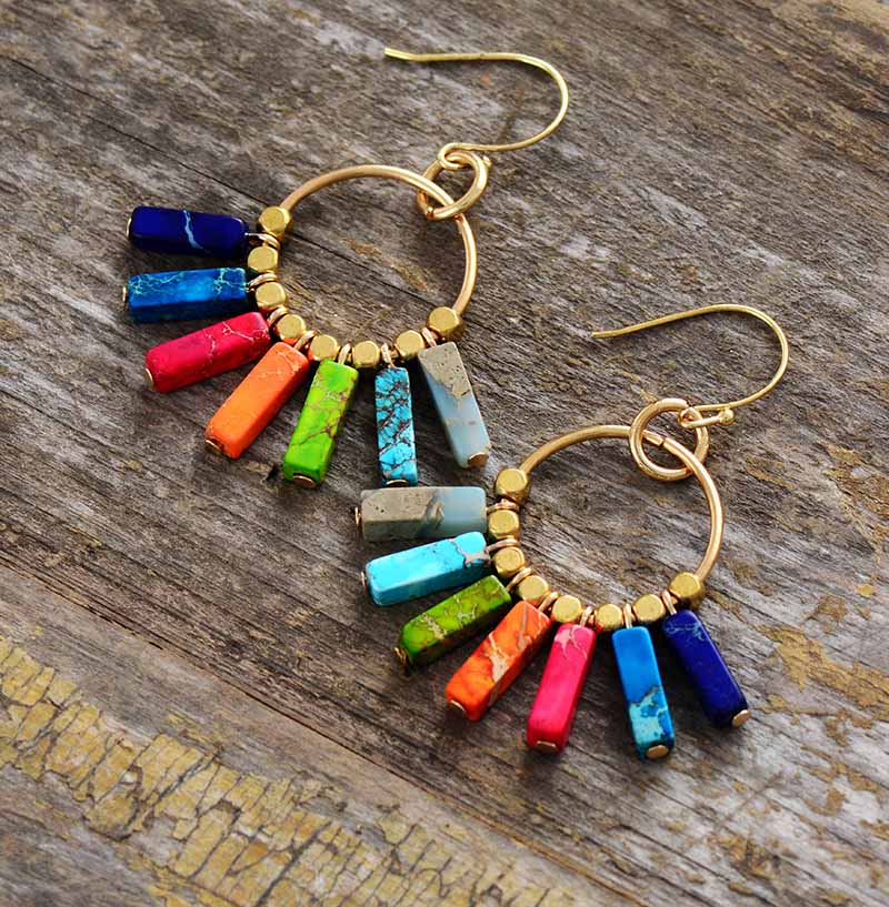 Chakra Earring Colorful Natural Stones Gold Color Beads Dangle Earrings Designer Bohemian Women Drop Earrings Gifts Dropship