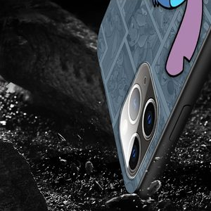 Image 5 - الكرتون لطيف غرزة ل أبل فون 12 11 برو ماكس البسيطة XS ماكس XR X 8 7 6 6S زائد 5S SE 2020 لينة أسود الهاتف حالة