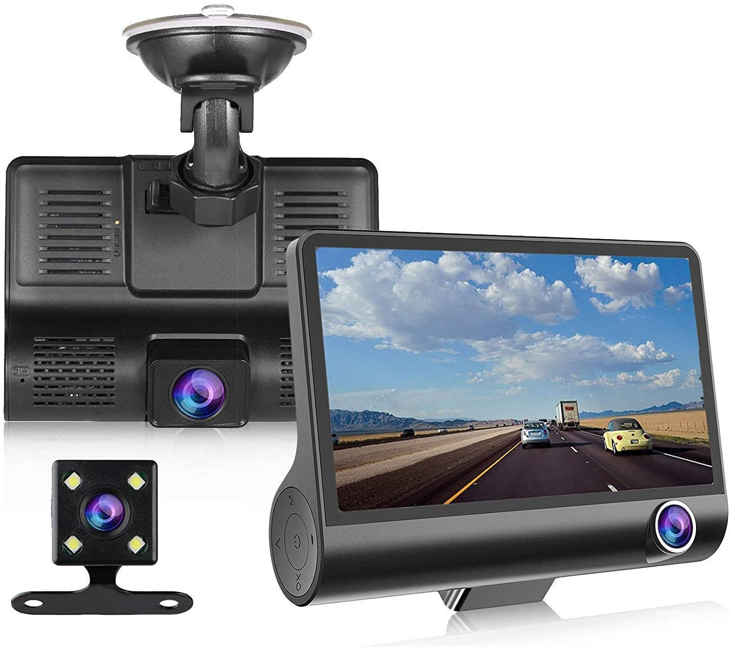 """Dash Cam 1080P FHD DVR Car Driving Recorder 4"""" LCD Screen 170 degree Wide Angle,Parking Monitor, Loop Recording,Motion Detection"""