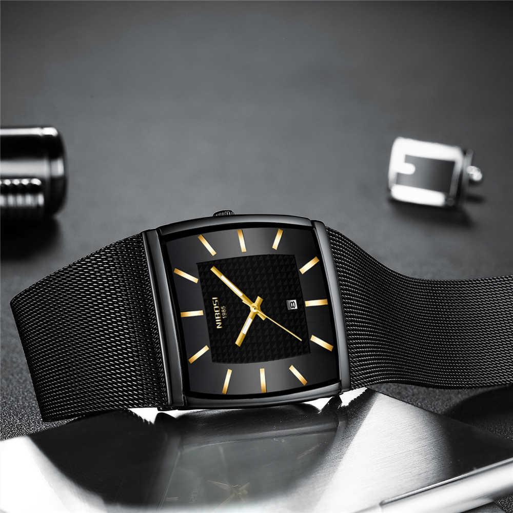 レロジオ Masculino NIBOSI 腕時計男性トップブランドの高級防水スポーツ腕時計メンズカジュアル超薄型メッシュバンドクォーツ腕時計