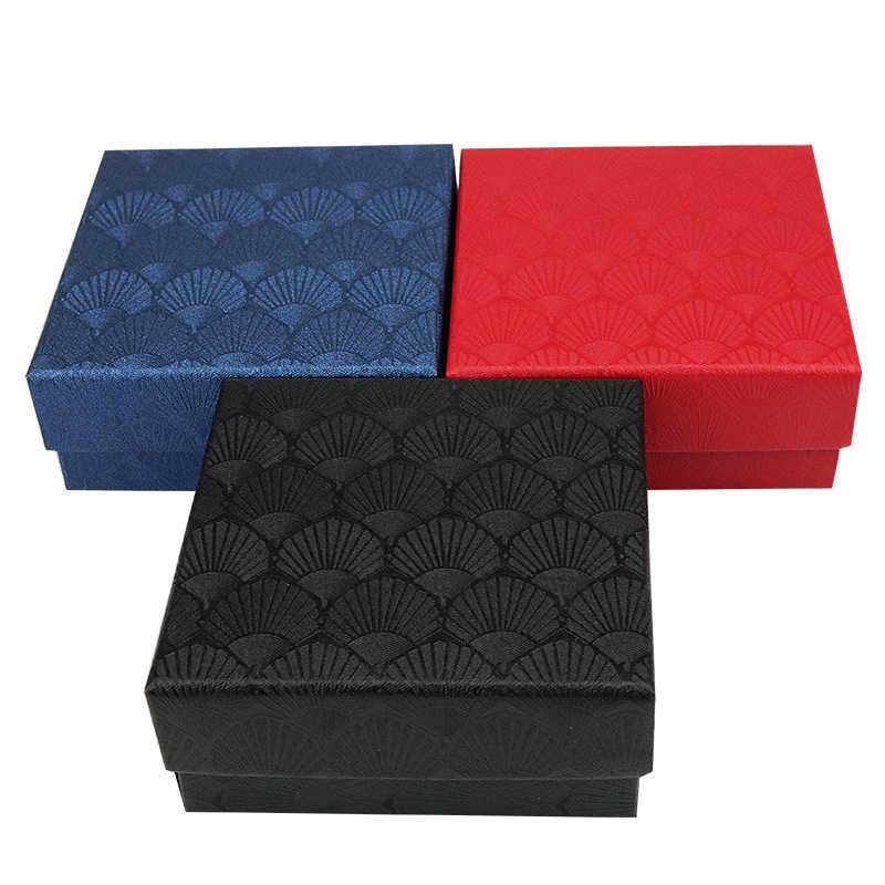 Cuadrado caja de joyería de vieiras anillo collar pendiente caja de pulsera organizador boda compromiso joyería caja de regalo o muestra titular