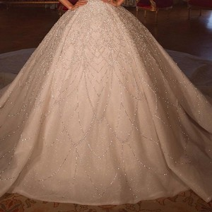 Image 3 - Luxury Beadings Appliques Bride Dresses Ball Gown Square Neck Spaghetti Straps With Train Bridal Style Long Gowns
