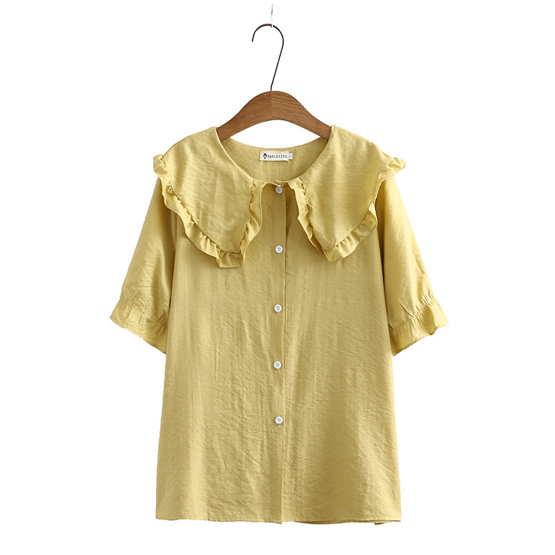 Peter Pan Collar Summer Blouse Women Plus Size Ruffles Casual Short Sleeve Blouse Shirt KKFY4638 Women Women's Blouses Women's Clothings cb5feb1b7314637725a2e7: Blue|White|YELLOW