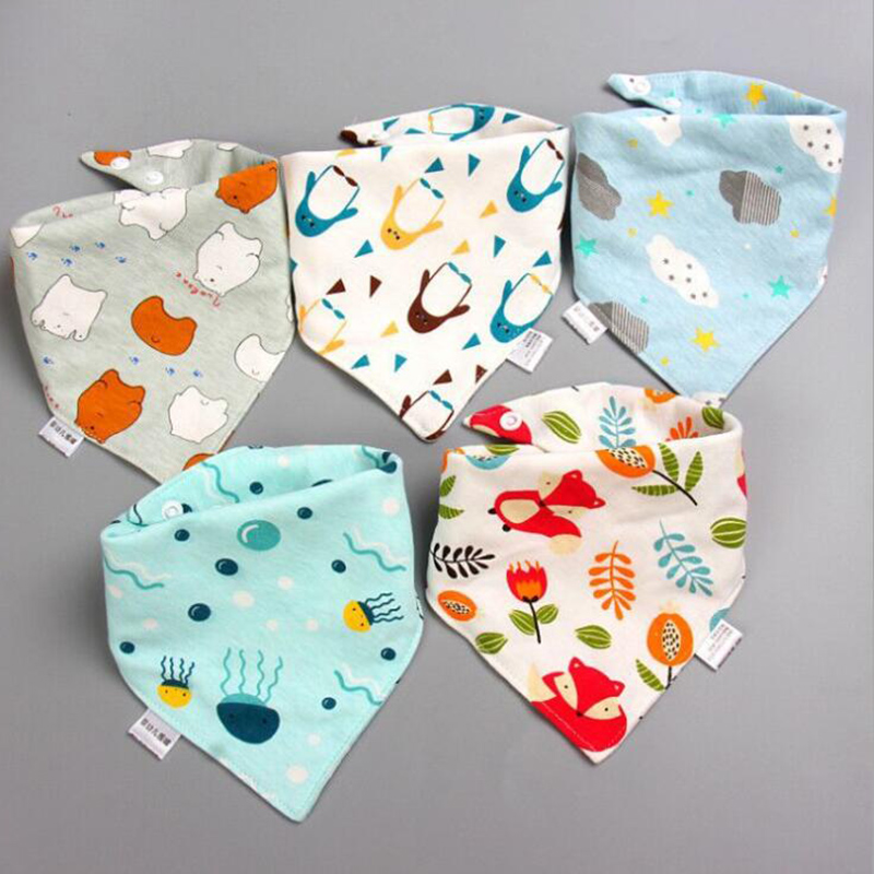 PatPat 2020 New 5-pack Three-layer Waterproof Lovely Bibs Sets  Kids Girls And Boys Cotton Triangle Children Feeding Accessories