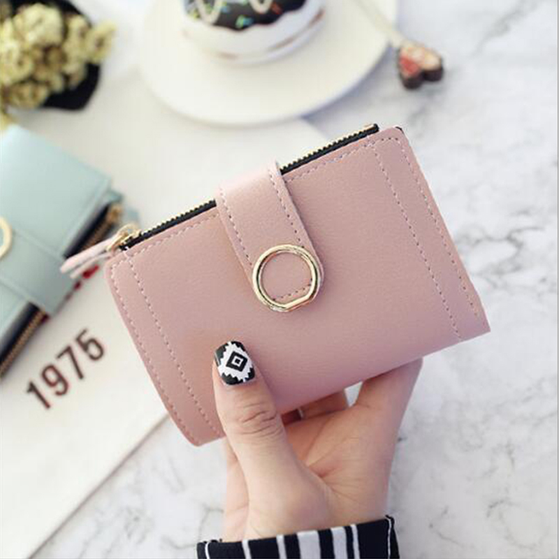 Women's Short Wallet Women's Fashion Brand Buckle Pu Leather Credit Card Bag Small Woman Multi-card Hot Sale Clutch Bag Wallet