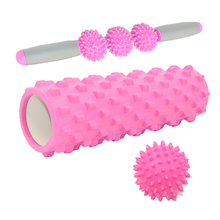 Yoga Column Fitness Pilates Foam Roller blocks Train Gym Muscle Massage Roller Yoga Stick Body Massage Relax Ball PVC купить недорого в Москве