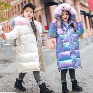 -30 Russian winter clothing waterproof real fur hooded Down coat jacket for girl Teenager 12 14 parka children clothes outwear(China)