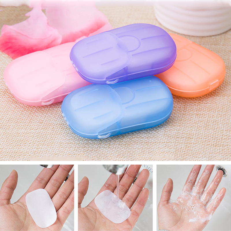 20pcs/box Disposable Laundry Wash Hand Paper Soap Portable Travel Boxed Soap Paper Outdoor Camping Mini Soap Slice  Random Color