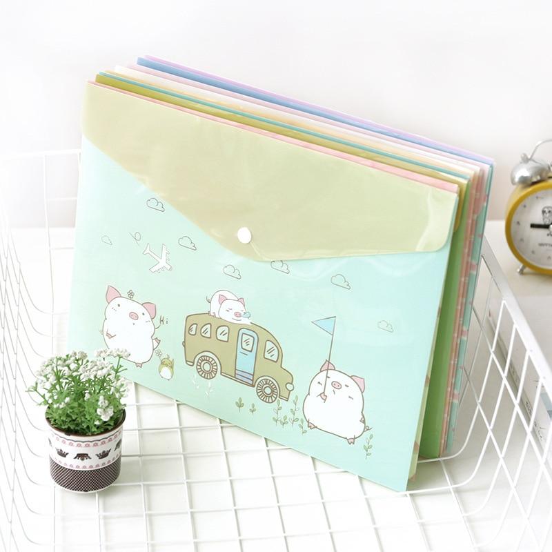A4  Document Folder Cute Animal Pattern Paper File Bag Transparent Folder Bag Office School Supplies Kawaii Stationary Office