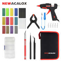 NEWACALOX EU/US 30W 110-240V Mini Hot Melt Glue Gun with Hobby Knife Fixed Clip Tweezers 80pc Glue Sticks 7mm DIY Hand Tool Kit