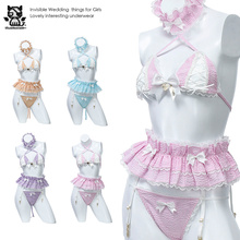 Disfraz Sexy de Lolita para mujer, uniforme de criada Kawaii, conjunto de Bikini de Anime, ropa interior erótica de tentación, Cosplay